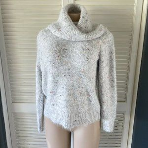 Lou & Grey for LOFT Gray Marled Soft Cowl Neck